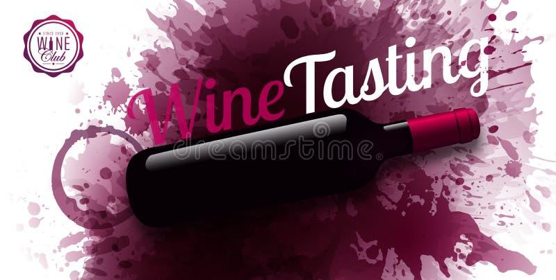 Horyzontalny sztandar z winem plami tło Wino degustacji teksta przykład Wino butelki ilustracja Wektor krople i punkty ilustracji