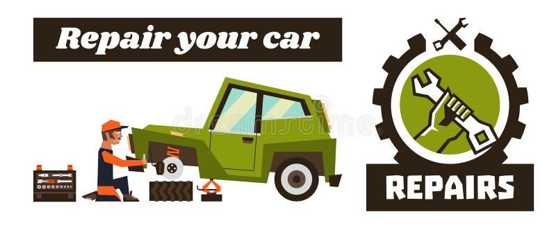 Horyzontalny sztandaru szablon na samochodowych naprawach Remontowy logo, ręka trzyma wyrwanie Samochód i usuwa koło mechanik royalty ilustracja