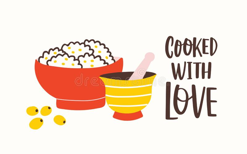 Horyzontalny sztandaru szablon z moździerzem i tłuczkiem, puchar z smakowitym jedzeniem i Gotujący Z miłość sloganem ręcznie pisa ilustracji