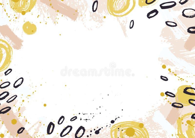 Horyzontalny tło dekorujący z kolorowymi farba śladami, atrament plami, kleksy i muśnięć uderzenia na białym tle Ręka royalty ilustracja