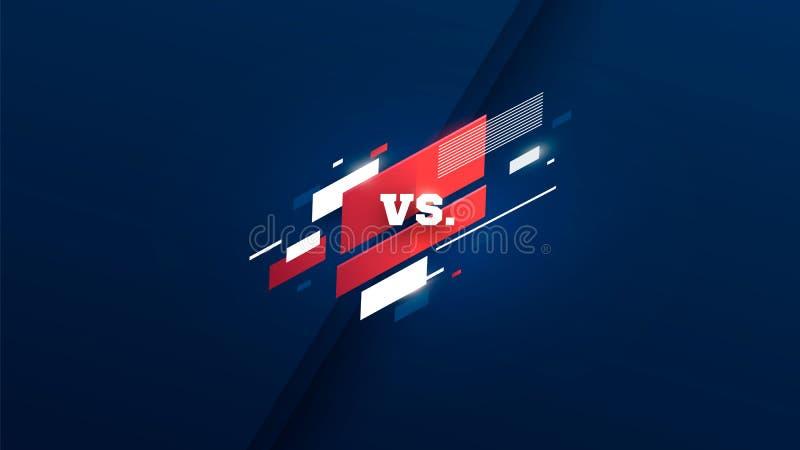 Horyzontalny versus ekran, logo vs listy dla sport?w i walki rywalizacja, MMA, UFS, bitwa, vs dopasowanie, gemowy poj?cie royalty ilustracja