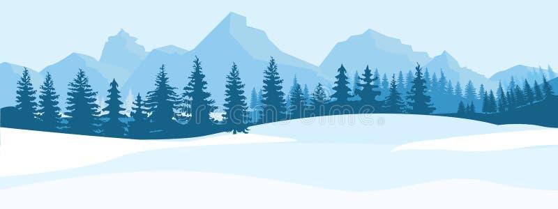 Horyzontalny zima krajobraz Góry jedlinowego drzewa las w odległym Płaska koloru wektoru ilustracja royalty ilustracja