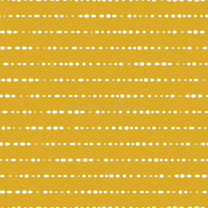 Horyzontalnych kropkowanych linii bezszwowy wektorowy tło Biel kropki na Złocistym tle Aabstract wzoru projekt streszczenie geome ilustracja wektor