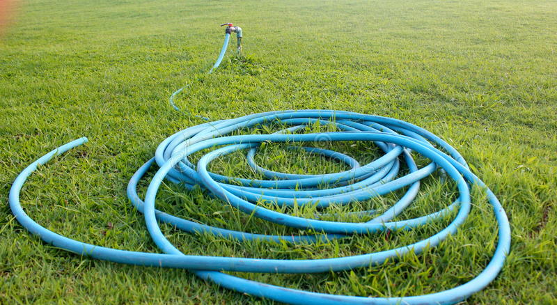 Hose set on garden royalty free stock images