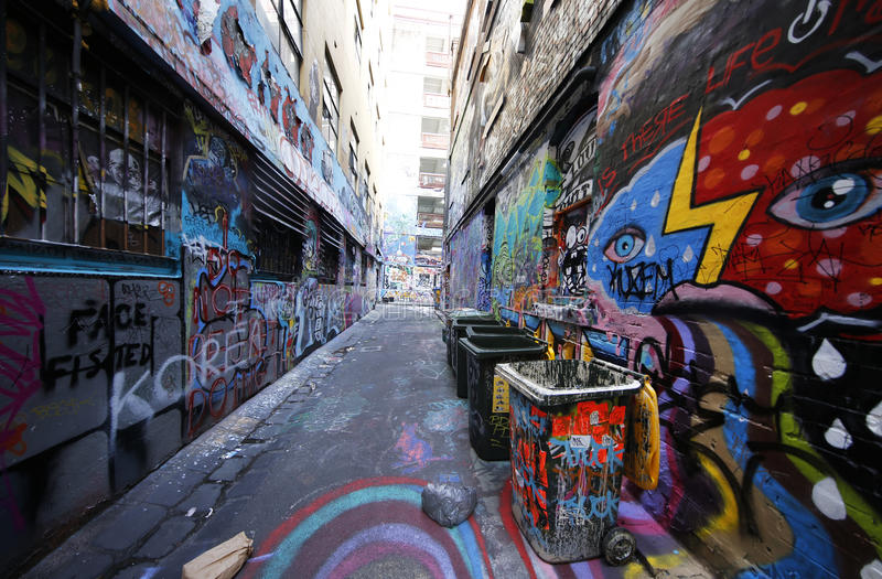 Hosier lane street art is one of the major tourists attraction in Melbourne. MELBOURNE, AUSTRALIA - JANUARY 25, 2016: Hosier lane street art is one of the major stock photography