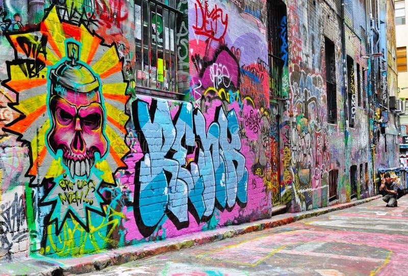 Hosierweg-Straßenkunst in Melbourne stockfotos