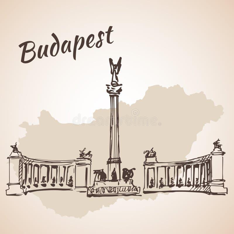 Hosok tere - ważni kwadraty w Budapest, Węgry ilustracja wektor