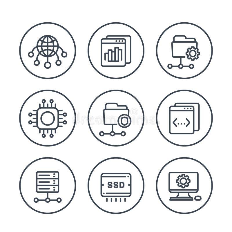 Hospedando, redes, ftp, linha ícones dos servidores ajustados ilustração royalty free