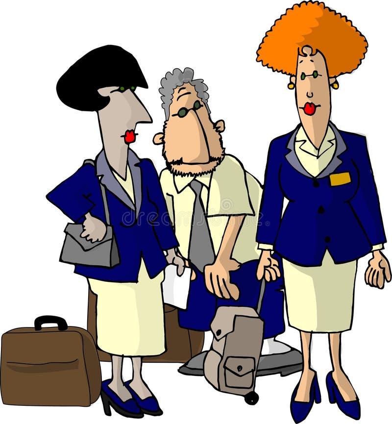Hospedeiros de bordo da linha aérea ilustração royalty free