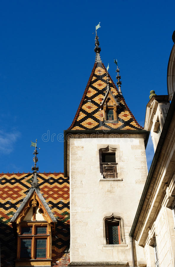 Hospice at Beaune. Tiled Rooftops at the Hotel-Dieu in Beaune, France stock photography