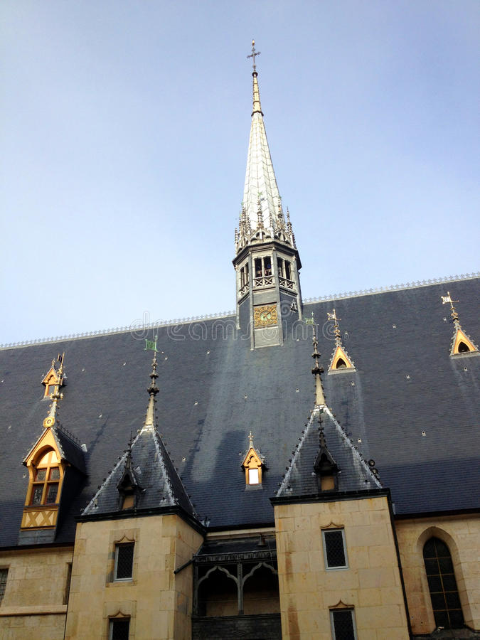 Hospices of Beaune, France. The Hospices de Beaune or Hôtel-Dieu de Beaune is a former charitable almshouse in Beaune, France royalty free stock photos
