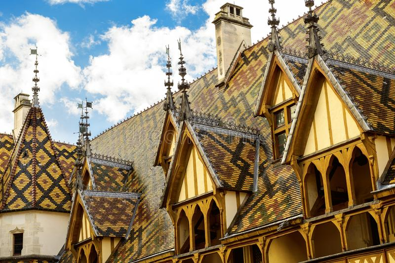 The Hospices of Beaune historic hospital, in Beaune, Burgundy, France. The Hôtel-Dieu or Hospices de Beaune in Beaune is the city`s main historic architecture royalty free stock photos