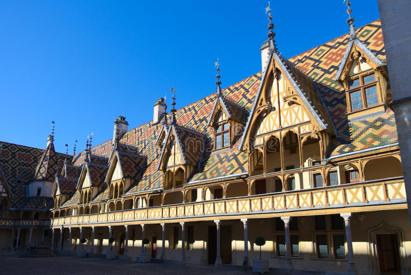 Hospices de Beaune. Architecture of Hospices de Beaune, France. Taken in May 2016 royalty free stock images