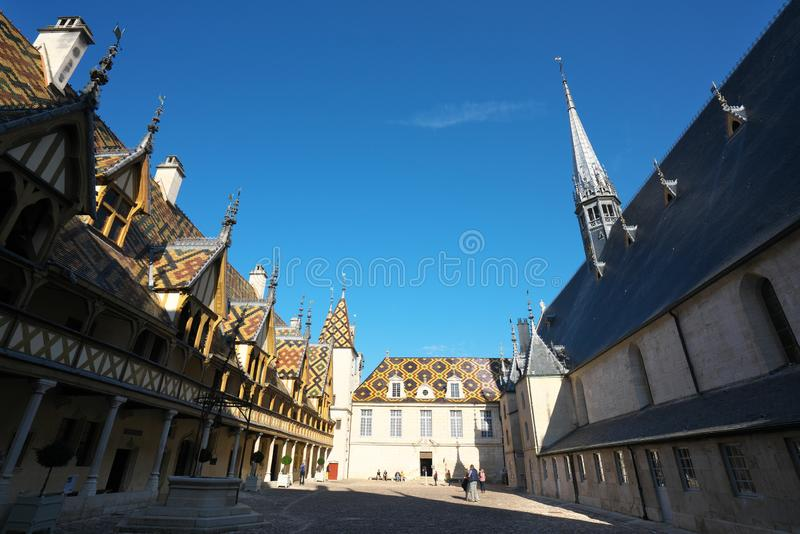 Hospices de Beaune or Hotel-Dieu in Beaune, France. Beaune,France-October 15, 2018: Hospices de Beaune or Hotel-Dieu in Beaune, France royalty free stock photography