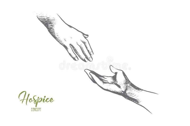 Hospicjuma pojęcie Ręka rysujący odosobniony wektor royalty ilustracja