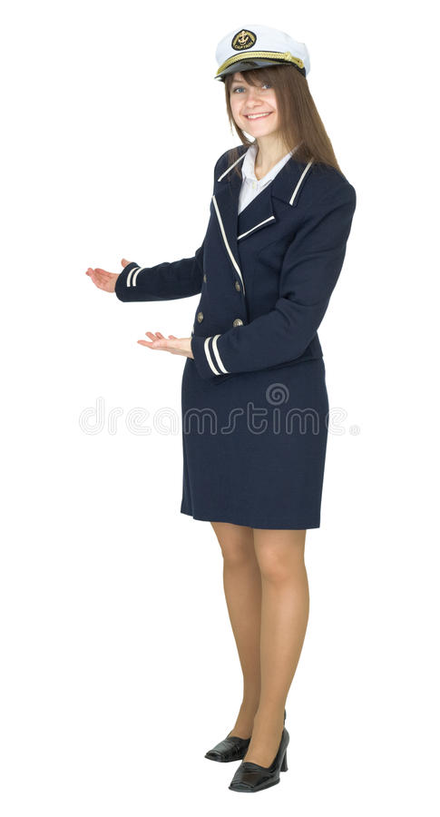 Hospitable woman in uniform sea captain royalty free stock images