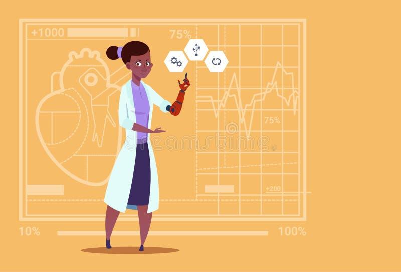 Hospital artificial do afro-americano do trabalhador das clínicas médicas do membro da mão fêmea do doutor Working With Robotic ilustração royalty free