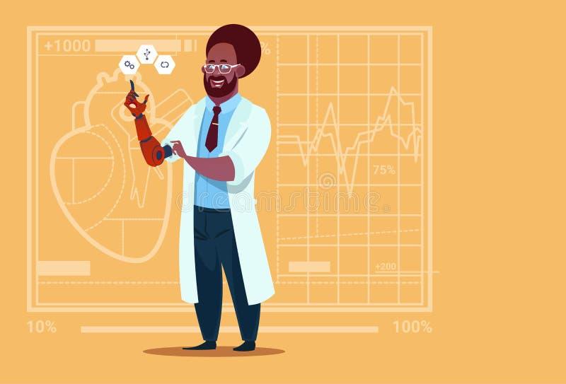 Hospital artificial do trabalhador das clínicas médicas do membro da mão afro-americano do doutor Working With Robotic ilustração stock
