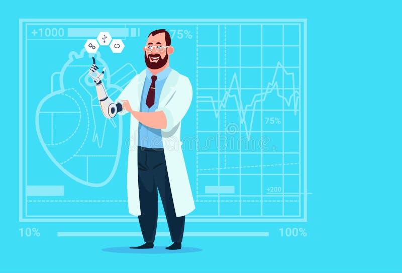 Hospital artificial do trabalhador das clínicas médicas do membro da mão do doutor Working With Robotic ilustração royalty free