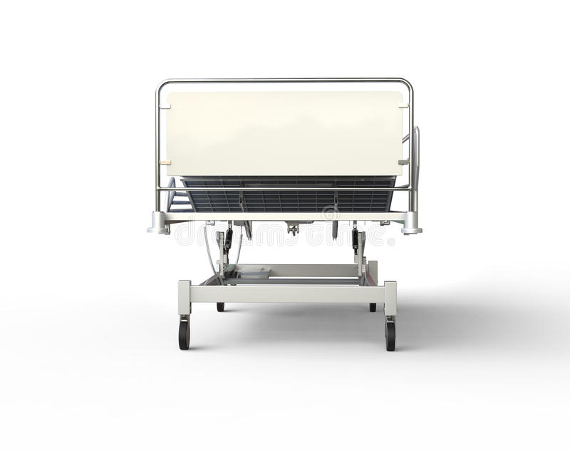Hospital bed with blue bedding - front view. Hospital bed with blue bedding - isolated on white background royalty free illustration
