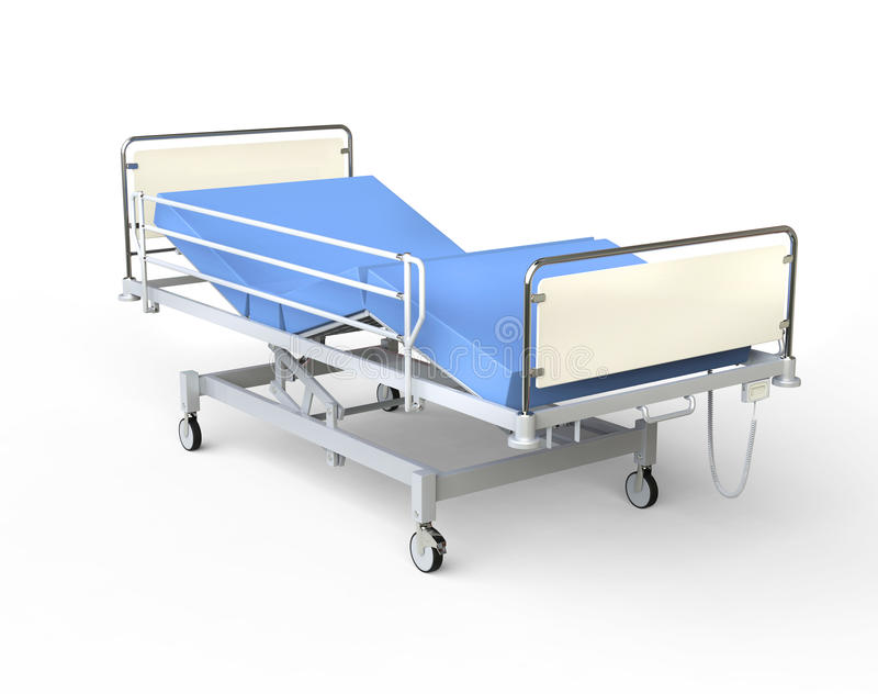 Hospital bed with blue bedding - right view. Hospital bed with blue bedding - image shot in ultra high resolution stock illustration