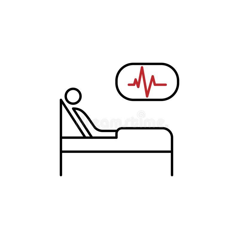 Hospital bed 2 colored line icon. Simple colored element illustration. Hospital bed icon design from medicine set. On white background vector illustration