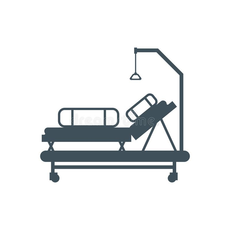 Hospital bed isolated. Medical bunk. Vector illustration.  stock illustration