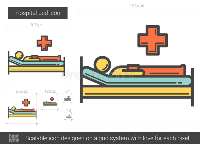 Hospital bed line icon. stock illustration