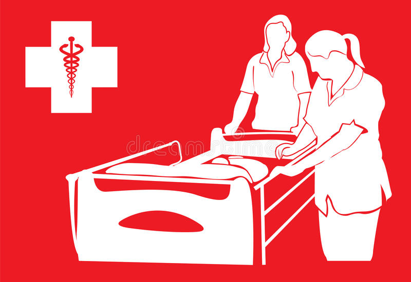 Hospital bed and nurses. Vector design of hospital bed and nurses caring in hospital royalty free illustration
