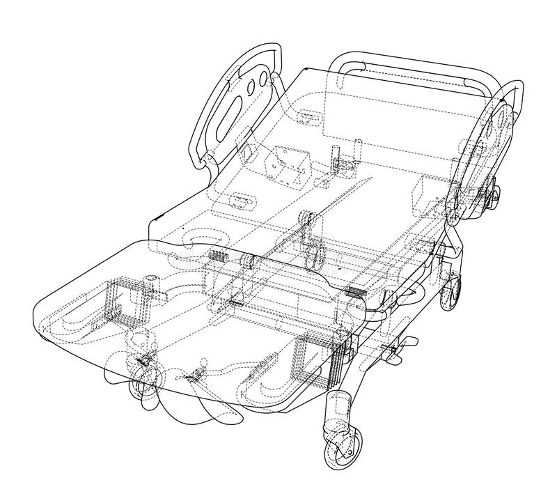 Hospital Bed Sketch. Vector. Rendering of 3d. Wire-frame style. The layers of visible and invisible lines are separated royalty free illustration