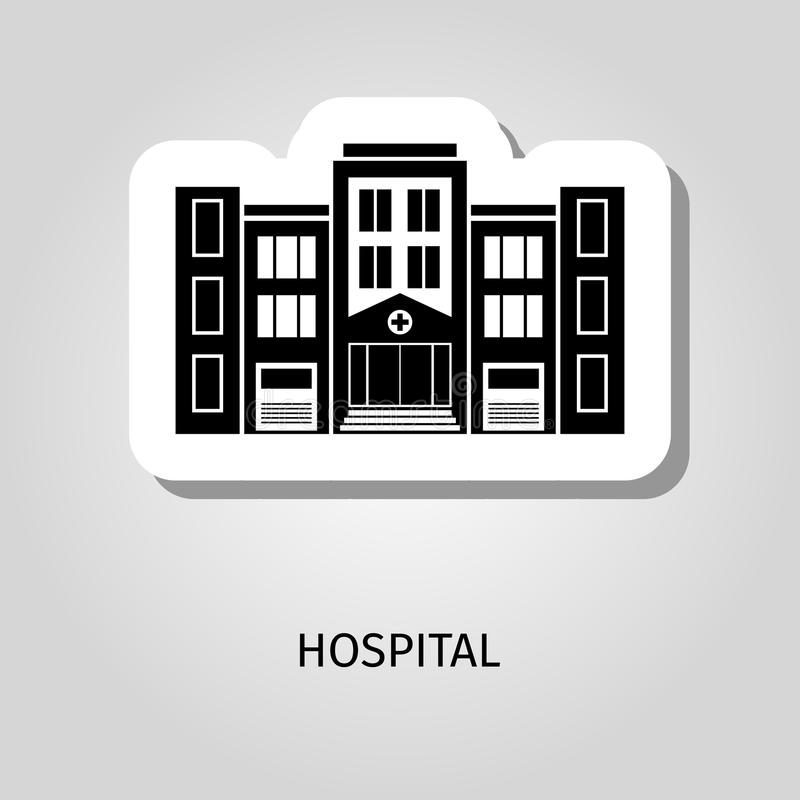 Hospital black silhouette building sticker royalty free illustration