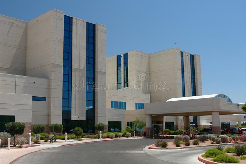 Hospital building. Angled view of a beautiful and massive hospital building royalty free stock photography