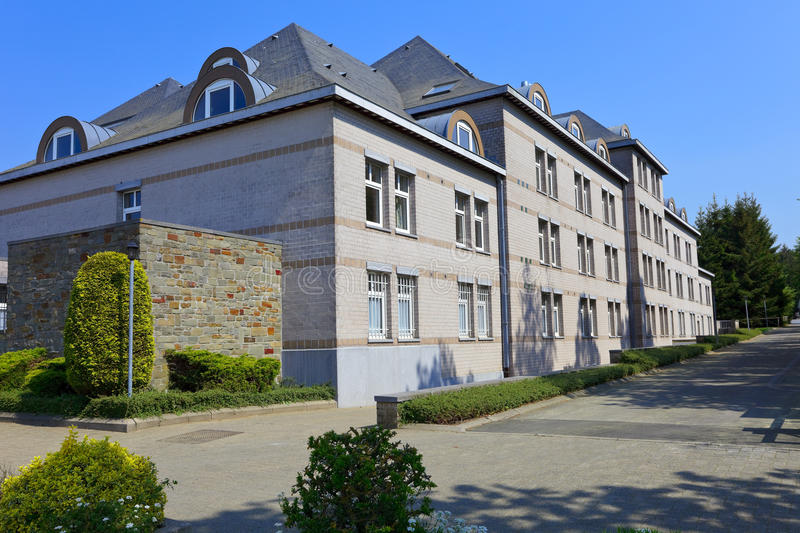 Hospital building. In small city Banneux, Belgium. Smal place Banneux is a popular Catholic pilgrimge with a holy water source royalty free stock photo