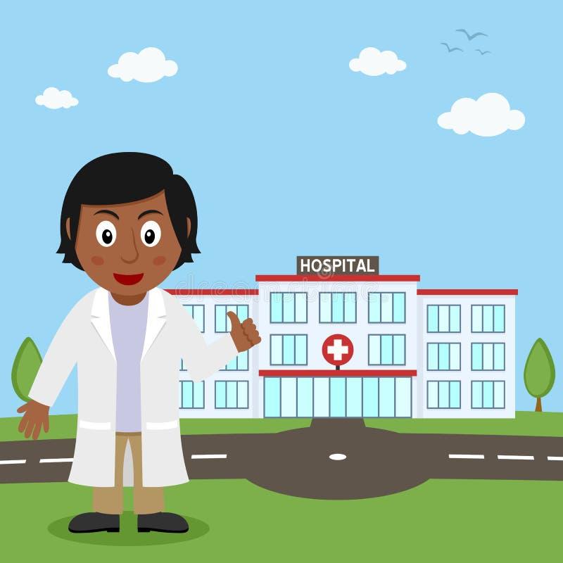 Hospital Building & Black Female Doctor vector illustration