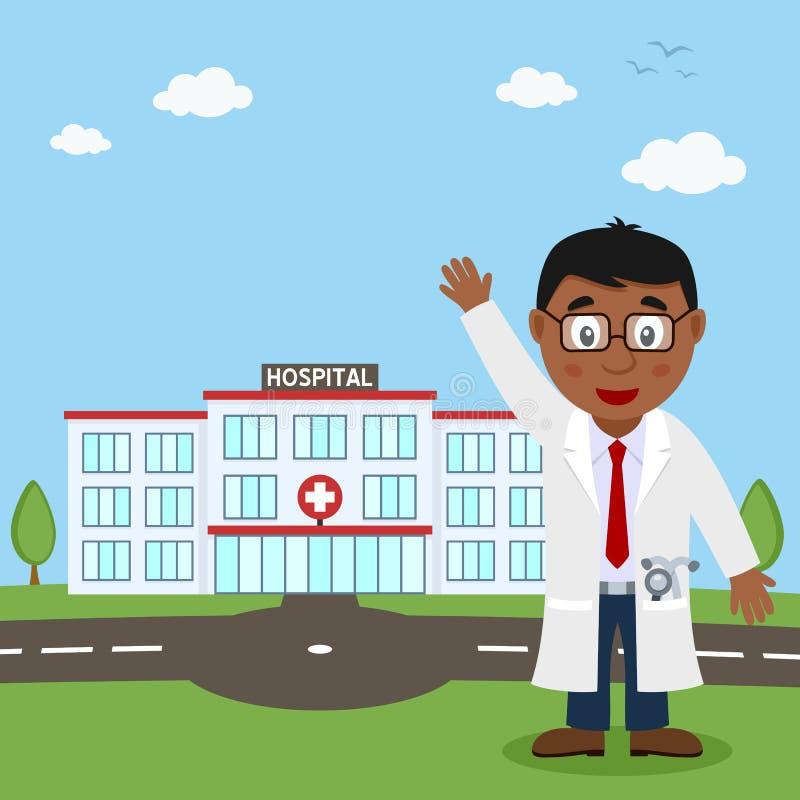 Hospital Building and Black Male Doctor vector illustration