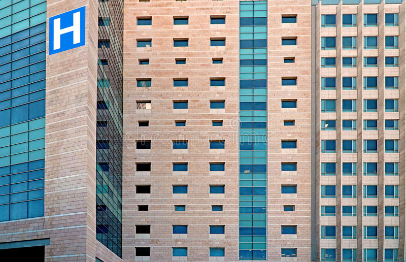 Hospital building. With blue tinted windows royalty free stock photo