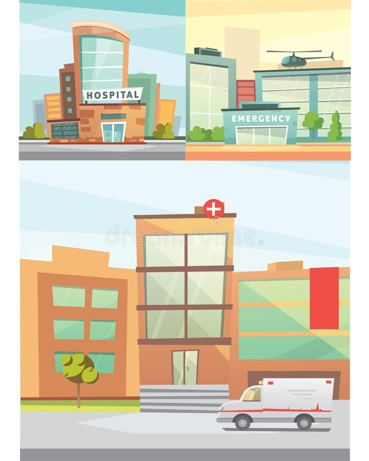 Hospital building cartoon modern vector illustration. Medical Clinic and city background. Emergency room exterior royalty free illustration