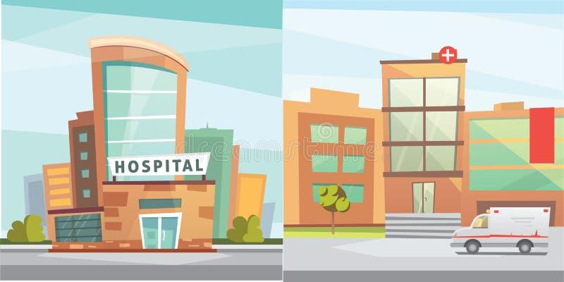 Hospital building cartoon modern vector illustration. Medical Clinic and city background. Emergency room exterior vector illustration