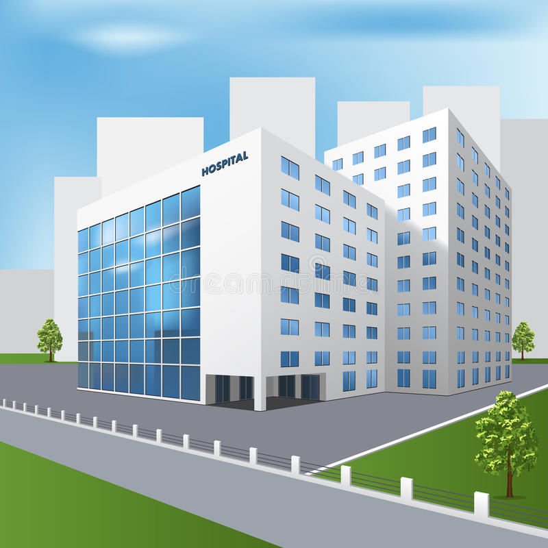 Hospital building on a city street vector illustration