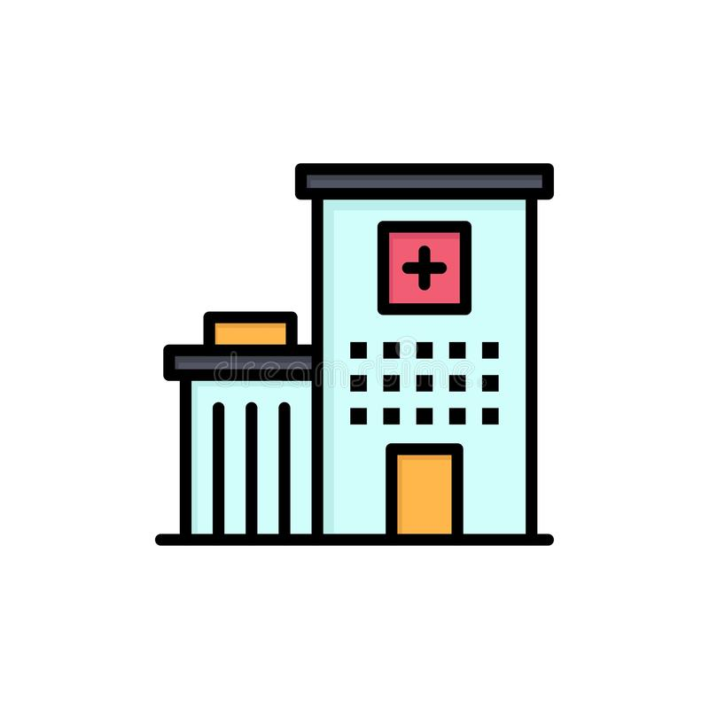 Hospital, Building, Clinic, Medical  Flat Color Icon. Vector icon banner Template royalty free illustration