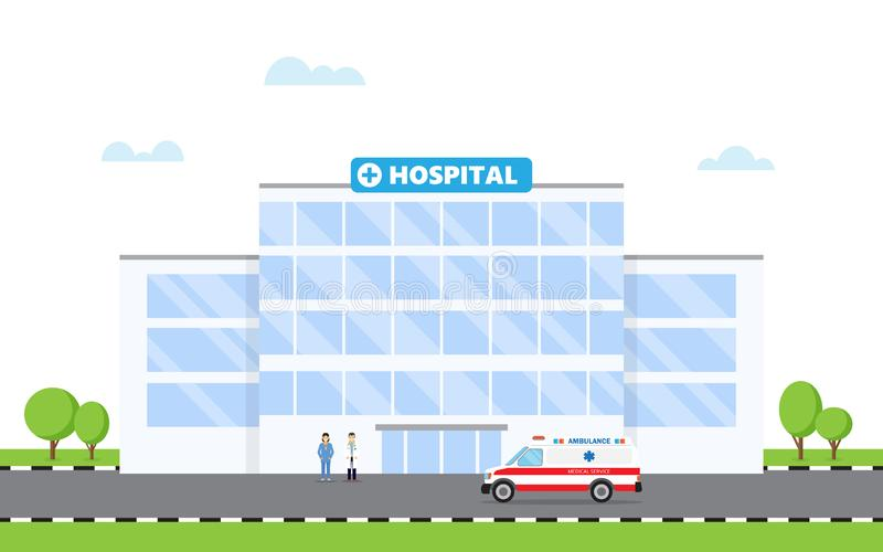 Hospital building and doctor and ambulance car. Vector illustration in flat style royalty free illustration