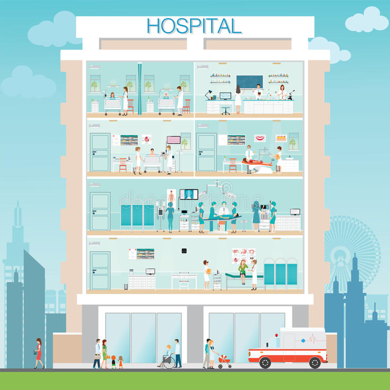 Hospital building exterior with doctor and patient. Hospital building exterior with doctor and patient ,Medicall surgery operation room, post-operation ward royalty free illustration