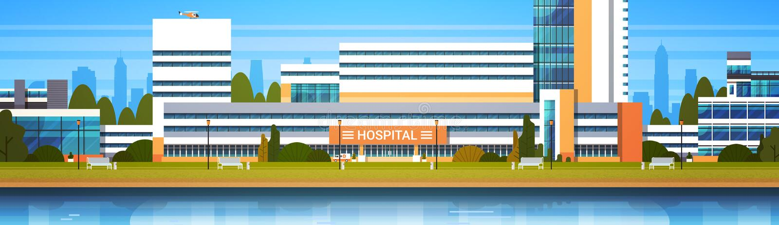 Hospital Building Exterior Modern Clinic View Horiozontal Banner. Flat Vector Illustration royalty free illustration