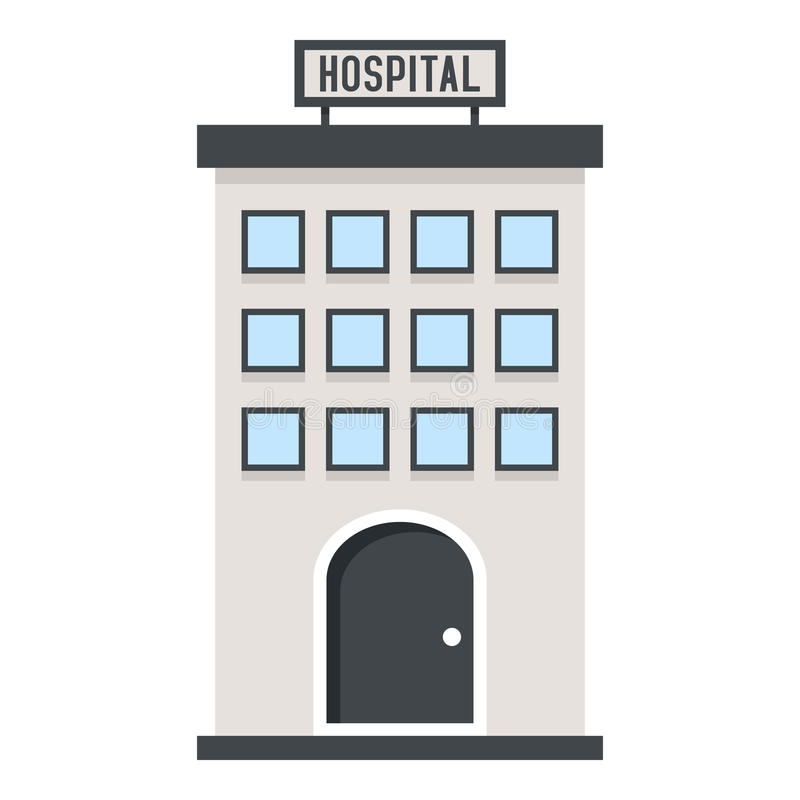 Hospital Building Flat Icon Isolated on White vector illustration