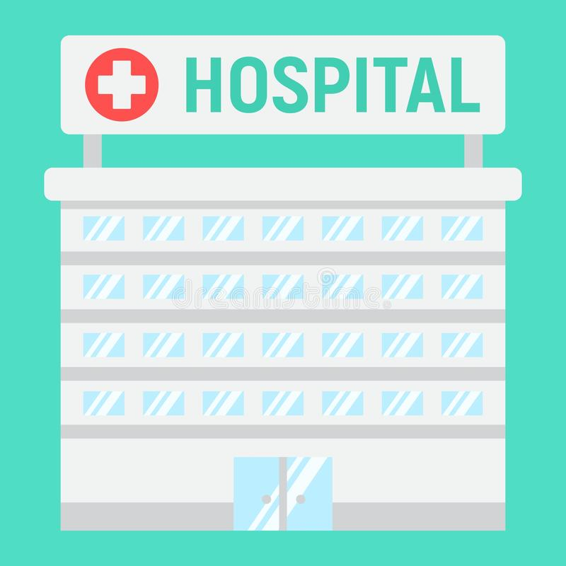 Hospital building flat icon, medicine royalty free illustration