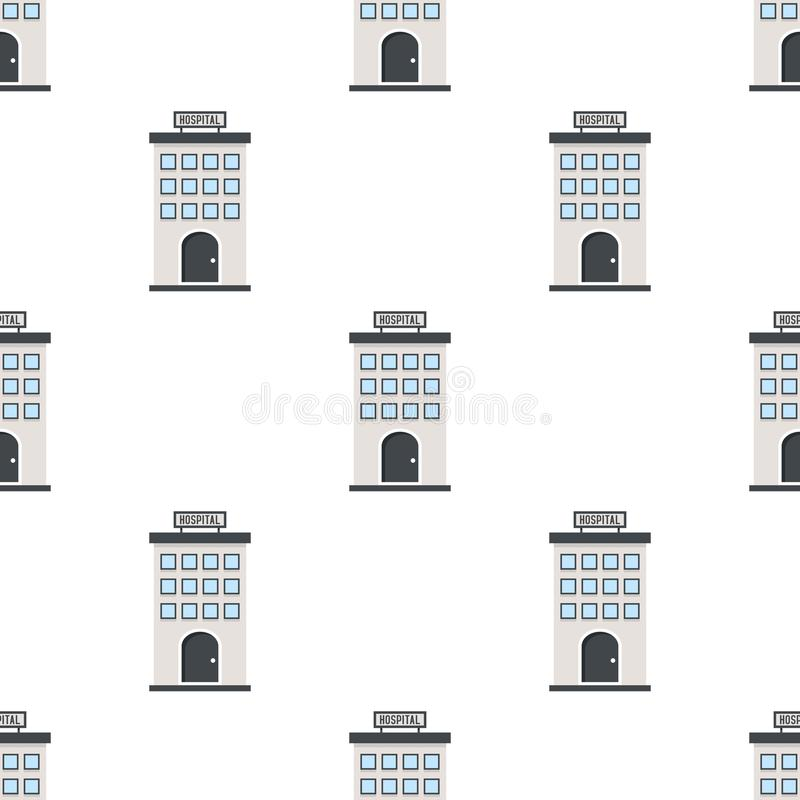 Hospital Building Flat Icon Seamless Pattern royalty free illustration
