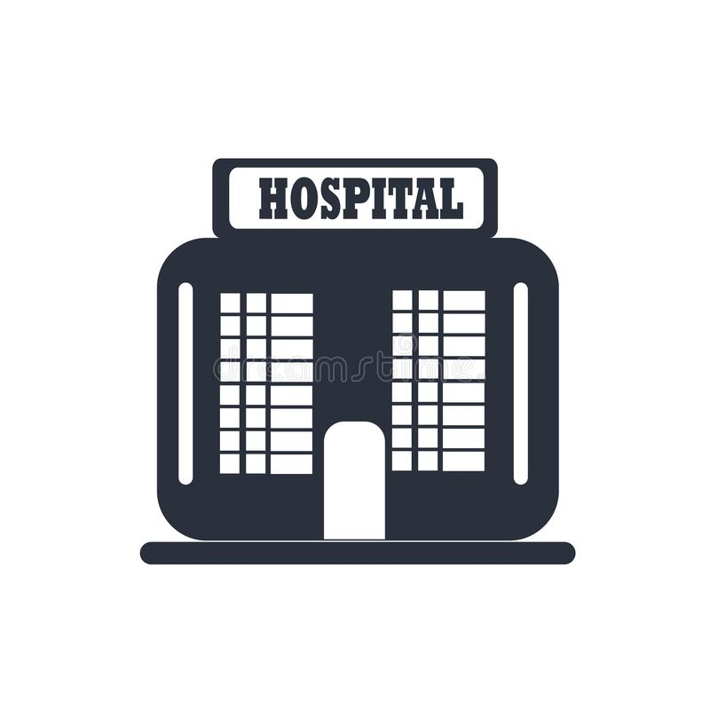 Hospital building front icon vector sign and symbol isolated on white background, Hospital building front logo concept royalty free illustration