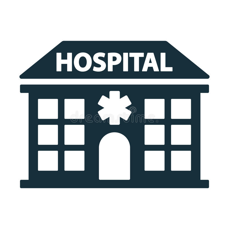 Hospital building front icon stock illustration