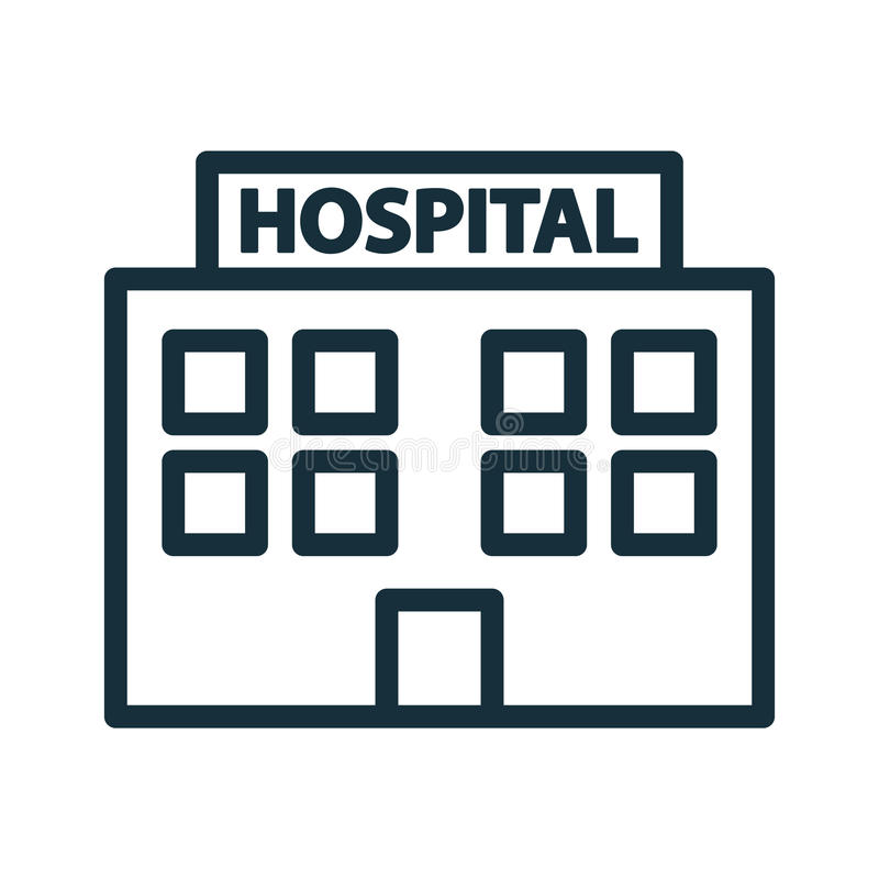 Hospital building front icon vector illustration