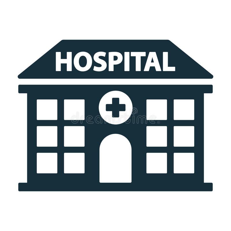 Hospital building front icon. On white background royalty free illustration